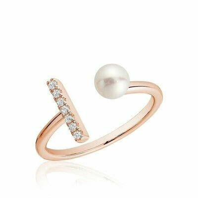 Open Pearl Ring with Diamonds Rose Gold