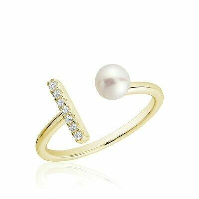 Open Pearl Ring with Diamonds Yellow Gold
