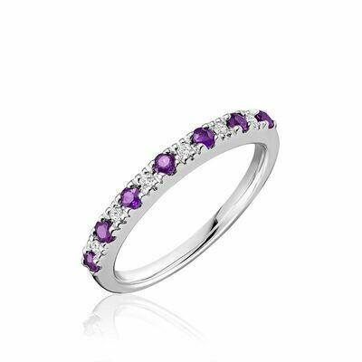 Pave Semi Eternity Amethyst & Diamond Ring