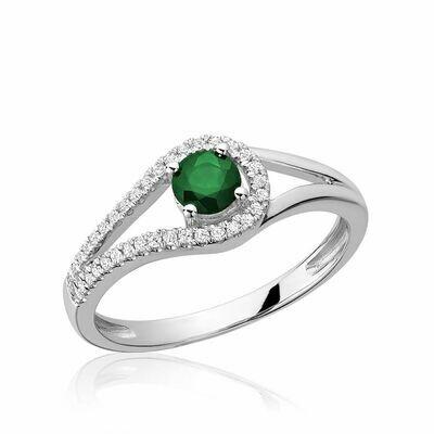 Split Shank Emerald & Diamond Ring White Gold