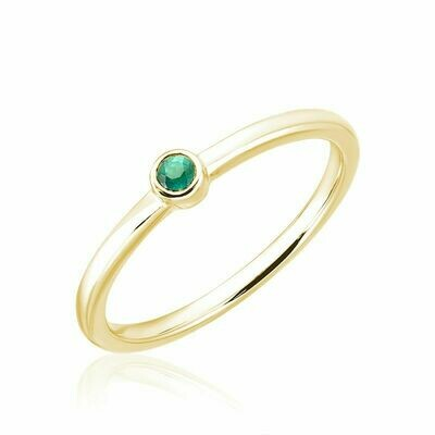 Emerald Stackable Ring Yellow Gold