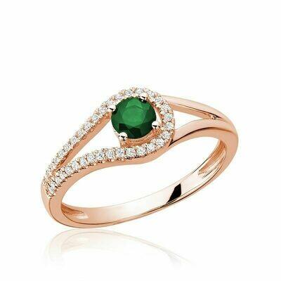 Split Shank Emerald & Diamond Ring Rose Gold