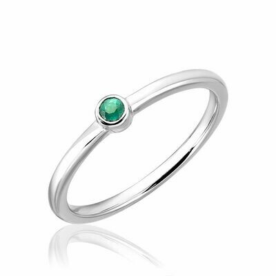 Emerald Stackable Ring White Gold