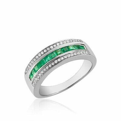 Emerald & Diamond Ring White Gold