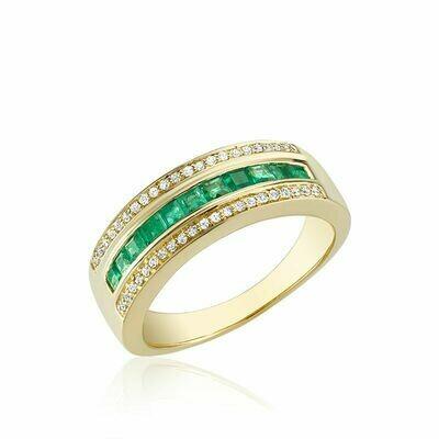 Emerald & Diamond Ring Yellow Gold