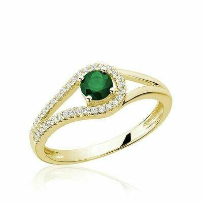 Split Shank Emerald & Diamond Ring Yellow Gold