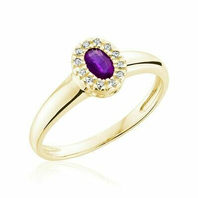 Oval Amethyst & Diamond Halo Ring Yellow Gold