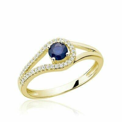 Split Shank Blue Sapphire & Diamond Ring Yellow Gold