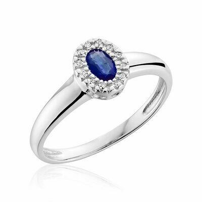 Oval Blue Sapphire & Diamond Halo Ring White Gold