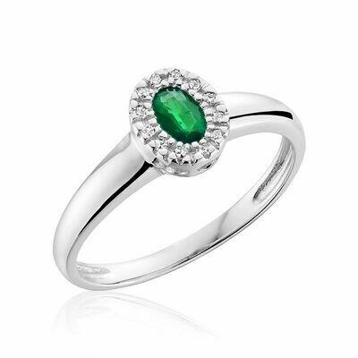 Oval Emerald & Diamond Halo Ring White Gold
