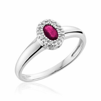 Oval Pink Topaz & Diamond Halo Ring White Gold