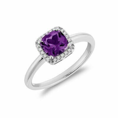 Cushion Cut Amethyst & Diamond Halo Ring White Gold
