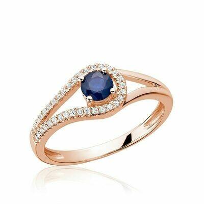 Split Shank Blue Sapphire & Diamond Ring Rose Gold