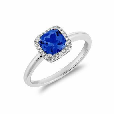 Cushion Cut Blue Sapphire & Diamond Halo Ring White Gold