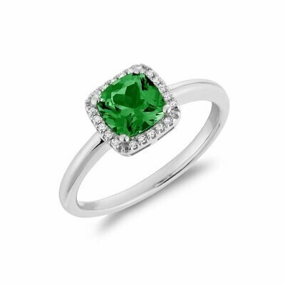 Cushion Cut Emerald & Diamond Halo Ring White Gold