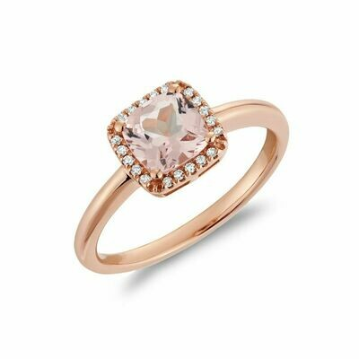Cushion Cut Morganite & Diamond Halo Ring Rose Gold
