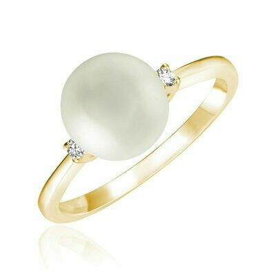 Cultured Freshwater Pearl & Diamond Ring Yellow Gold