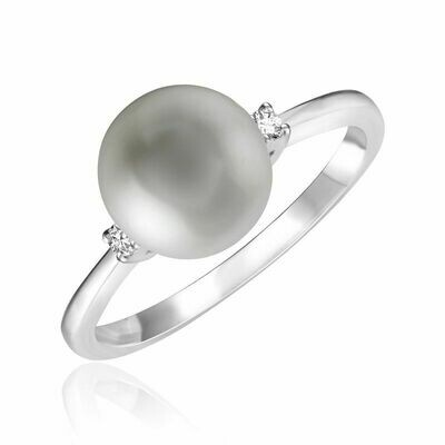 Grey Pearl & Diamond Ring White Gold