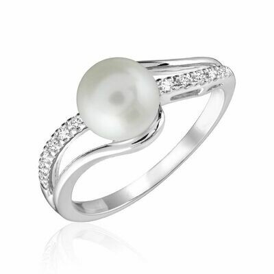 Cultured Freshwater Pearl & Diamond Ring White Gold