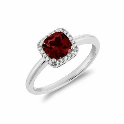 Cushion Cut Garnet & Diamond Halo Ring White Gold
