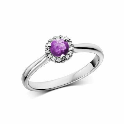 Amethyst & Diamond Halo Ring White Gold