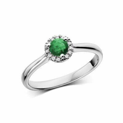 Emerald & Diamond Halo Ring White Gold