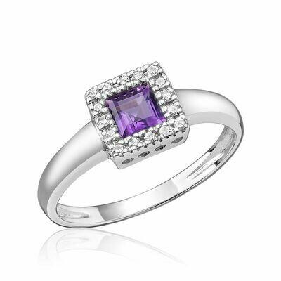 Princess Cut Amethyst & Diamond Halo Ring White Gold