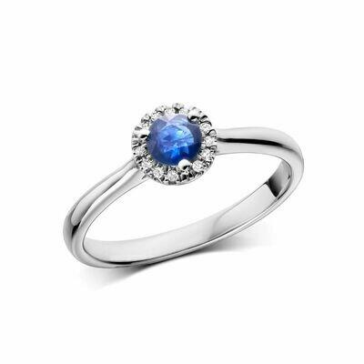 Blue Sapphire & Diamond Halo Ring White Gold