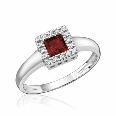 Princess Cut Garnet & Diamond Halo Ring White Gold