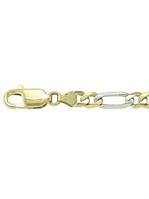 Yellow & White Gold Two Tone Solid Figaro Link Chain 10KT, 14KT & 18KT