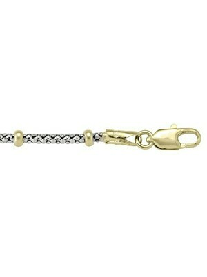 Two Tone Gold Station Bead Link Chain 14KT