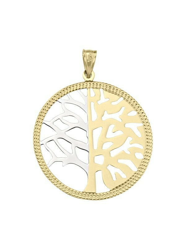 White & Yellow Gold Large Tree Of Life Pendant 10KT