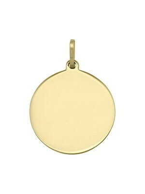 Yellow Gold 18mm Round Tag Pendant 14KT