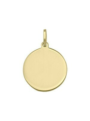 Yellow Gold 16mm Round Tag Pendant 14KT
