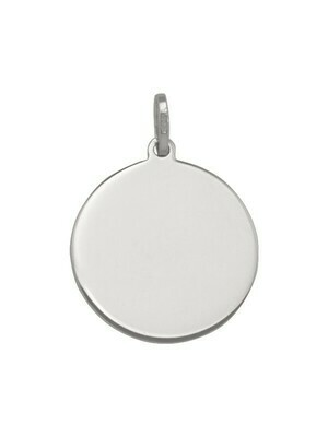 White Gold 18mm Round Tag Pendant 14KT