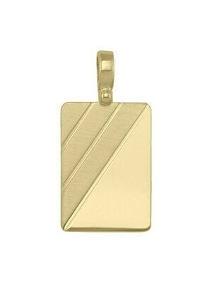 Yellow Gold Rectangular Tag Pendant With Design 10KT