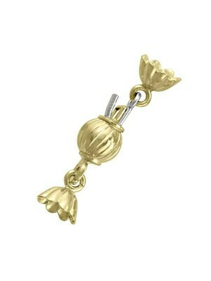 Yellow Gold 6mm Ribbed Ball Pearl Clasp Finding 18KT