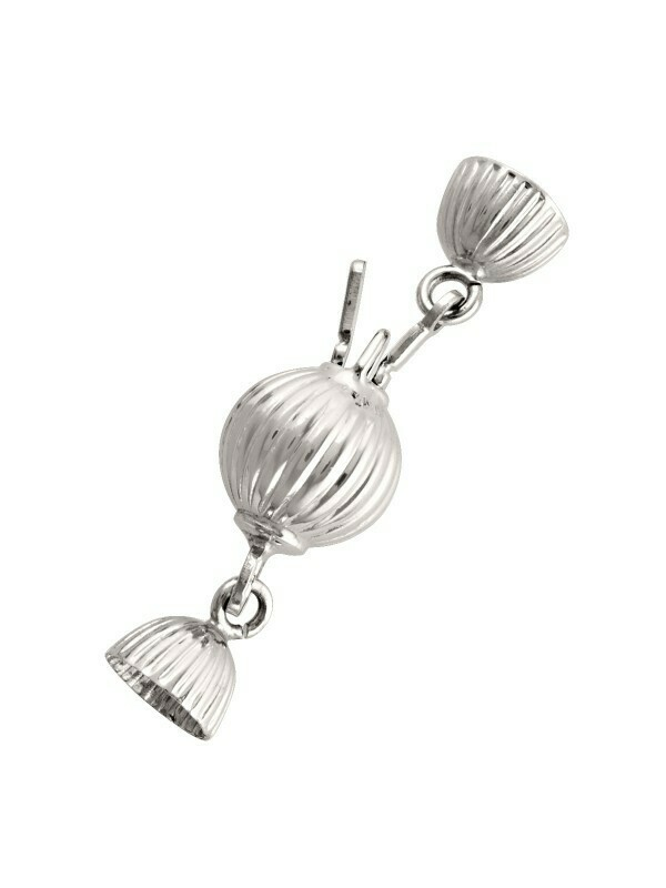White Gold 8mm Ribbed Ball Pearl Clasp Finding 18KT