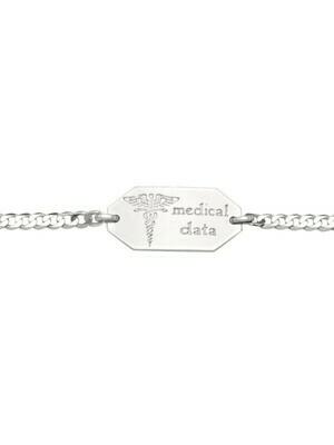 White Gold Medic Data Bracelet W/Plate 10KT & 14KT