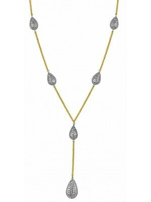 White & Yellow Gold Two Tone Tear Drop Necklace 14KT