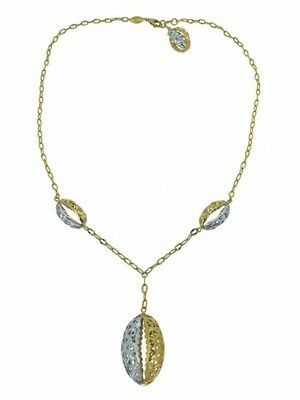 White & Yellow Gold Two Tone Fancy Drop Necklace 18KT