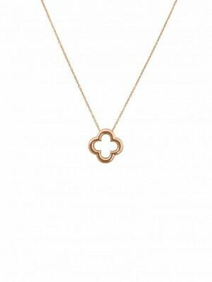 """Pink Gold Clover Necklace-18"""" 14KT"""
