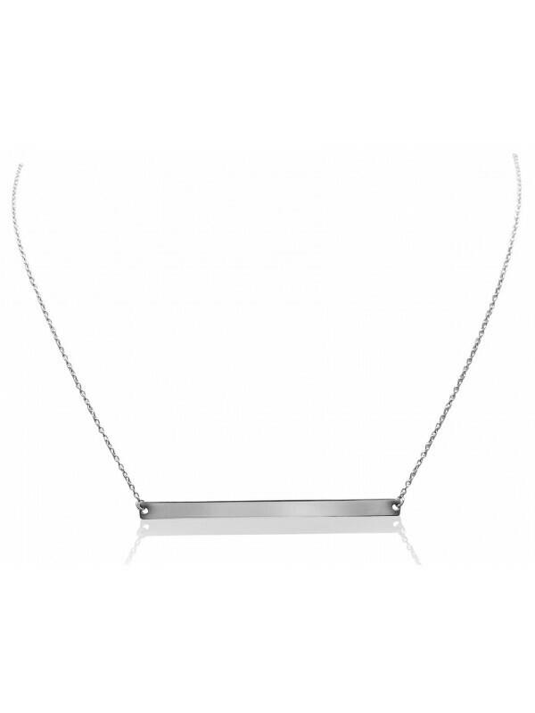 White Gold Bar Necklace 14KT