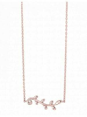 Pink Gold Olive Leaf Necklace 14KT