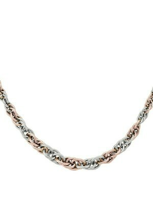 Pink And White Gold Two Tone Fancy Hollow Necklace 10KT
