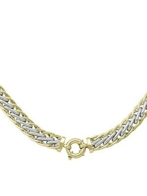 White & Yellow Gold Two Tone Hollow Fancy Ladies Necklace 14KT