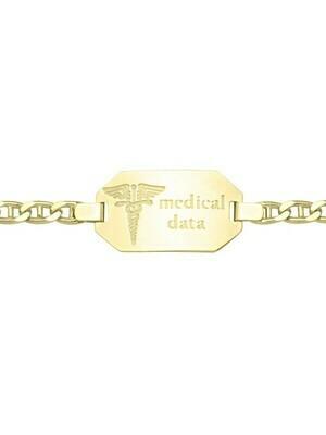 Yellow Gold Medic Data Bracelet W/Plate 10KT & 14KT