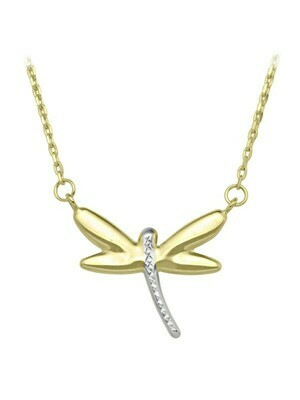 White & Yellow Gold Two Tone Dragonfly Necklace 10KT