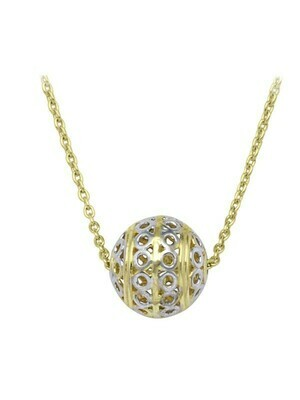 White & Yellow Gold Two Tone Fancy Ball Necklace 10KT