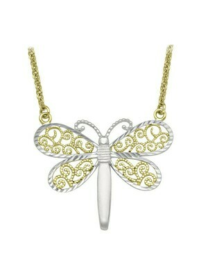 White & Yellow Gold Two Tone Filigri Dragonfly Necklace 10KT